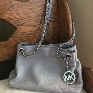 Michael Kors grey leather purse
